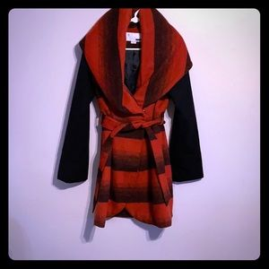 Red and black pea coat